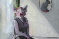 Frau mit Kunst, 34x32 cm